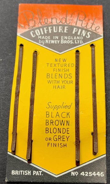 Delightful 1930s Display Card of Blend-Rite COIFFURE PINS