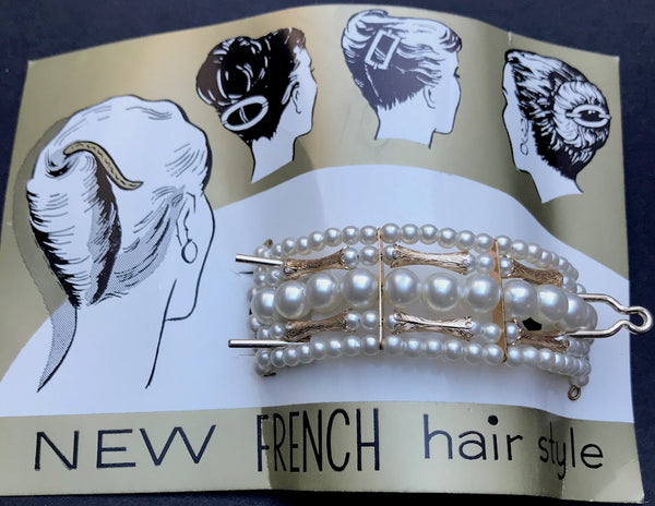 "Glamorous Faux Pearls & Gold Vintage ""French"" Barrette"
