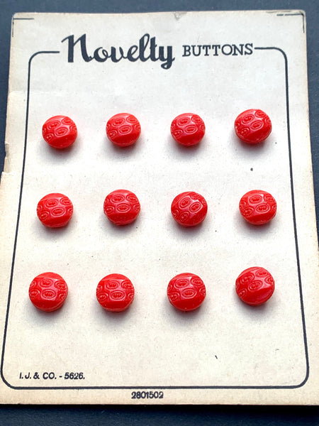 Interesting Vintage Red 1cm or 1.5cm  Glass Buttons