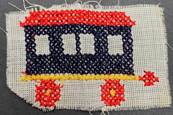 Vintage Cross Stitch Caravan Applique