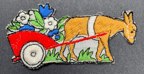 1940s Cotton 8.5cm Applique - Donkey with a Cart of Flowers