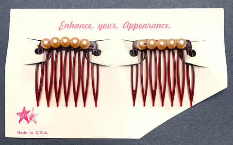 Pair of 1940s Faux Pearl Hair Combs