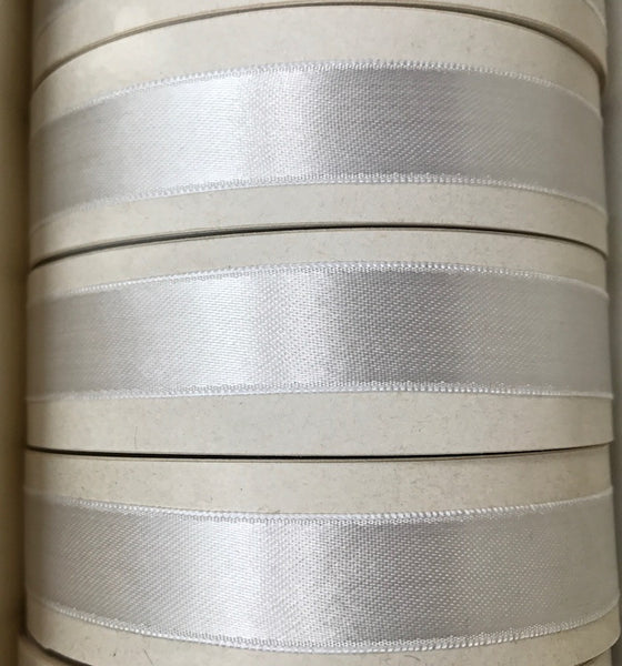 "18yds Gorgeous Vintage 1930s Swiss Pearly White  1/2"" Single Face Shimmery Satin Ribbon"