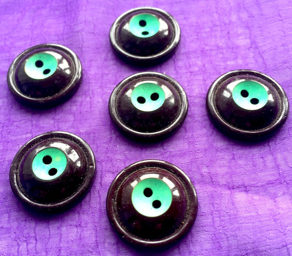 6 Sculptural Vintage Dome Shaped Italian Buttons - Blue, Black, Brown, Green, Red