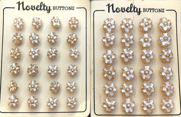 24 Unusual and Pretty Shimmery Cream Vintage Flower Buttons 1.5cm or 1cm
