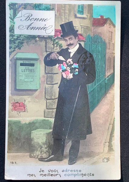 """My Wishes Go To You""  1907  French Christmas Postcard"
