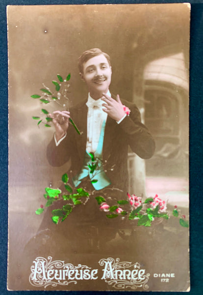 Dapper Young Man on 1900s French Christmas Postcard