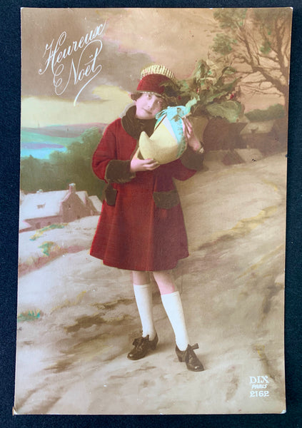 Girl and her Clog..1900s French Christmas/New Year Postcard