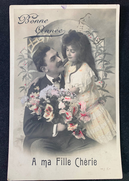 Charming Father and Daughter 1900s French Christmas Postcard