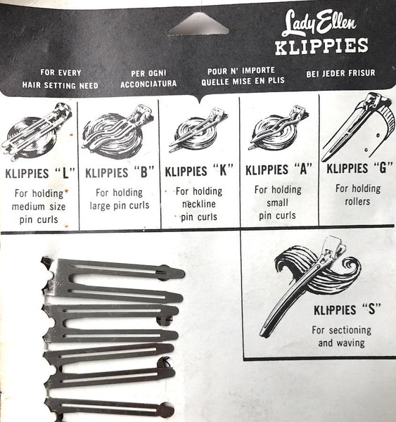 "4.5cm Sectioning & Waving 1940s Hair ""KLIPPIES"" - Film Star Elyse Knox endorsed"