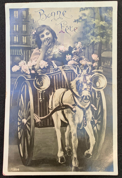 "Driving towards ""Happy Holidays"" 1900s French Postcard."