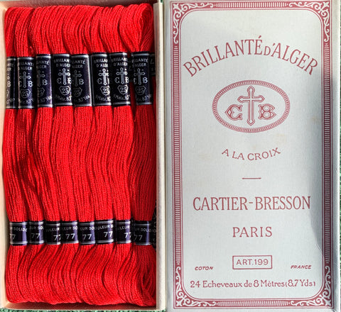 Vintage CARTIER-BRESSON Bright Red (77) Cotton Embroidery Thread 24 skeins x 8m