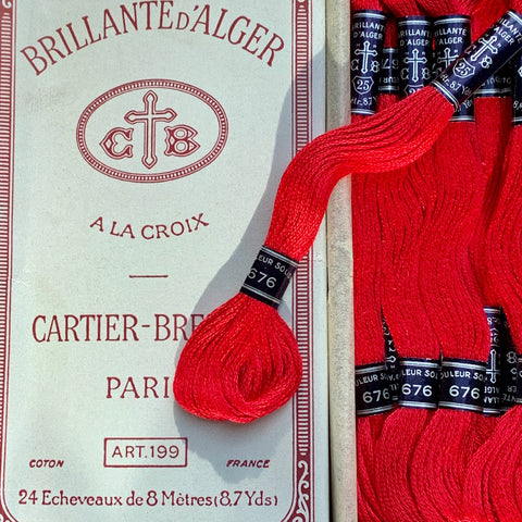 Vintage CARTIER-BRESSONDeep Red (678) Cotton Embroidery Thread 24 skeins x 8m