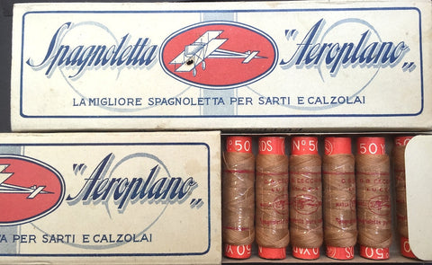 "Box of Vintage Italian ""Aeroplano"" Rich Brown Cotton Thread 12 spools x 50 yds"