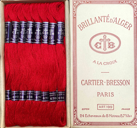 Vintage CARTIER-BRESSON Crimson Red (678) Cotton Embroidery Thread 24 skeins x 8m