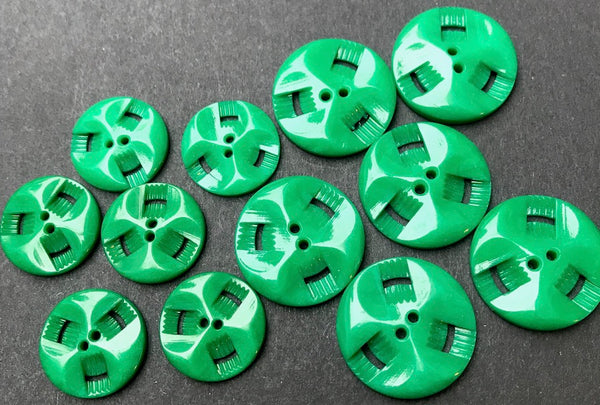 6 Shiny Emerald Green Vintage French Casein Buttons - 2.2cm or 1.7cm