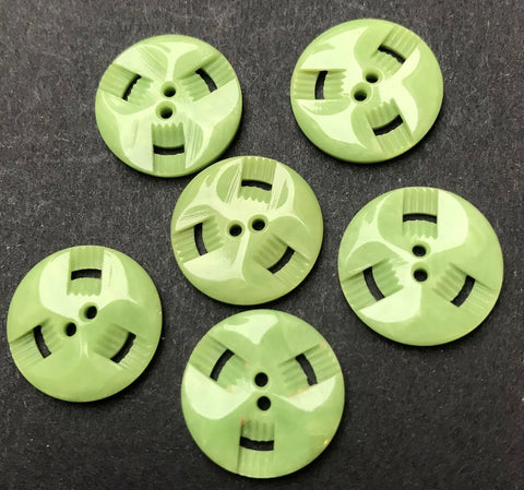 6 Lime Green 1.7cm Vintage French Casein Buttons