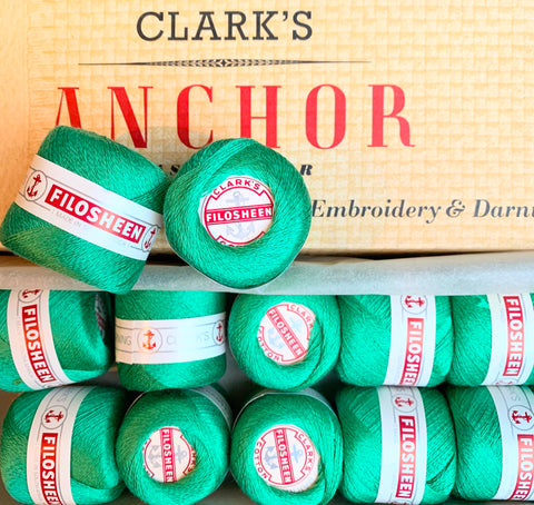 Vintage Anchor Filosheen Emerald Green Cotton Embroidery or Darning Thread 12 balls x 22m (0205)