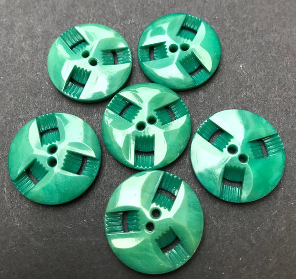 6 Dusty Turquoise Green Vintage French Casein Buttons - 2.2cm or 1.7cm