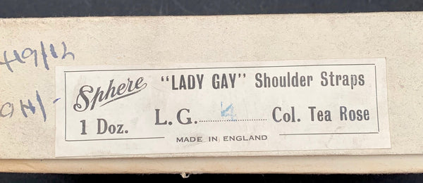 "1940s LADY GAY Tea Rose Elastic Detachable Shoulder Straps ""BRITISH THROUGHOUT"""