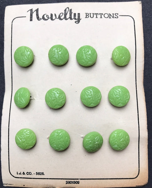 Most Unusual 12mm Pistachio Green Leafy Vintage Glass Buttons - 12 on 1940s Card