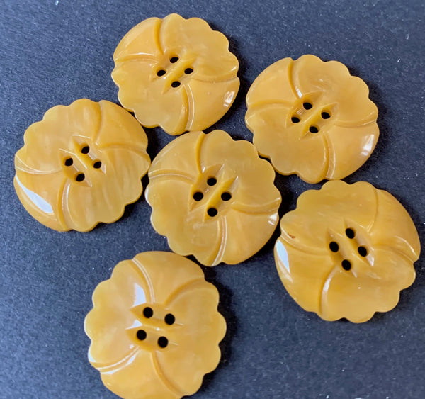 Honey Yellow Vintage Casein 1.7cm Buttons - lots of 5 or 6.