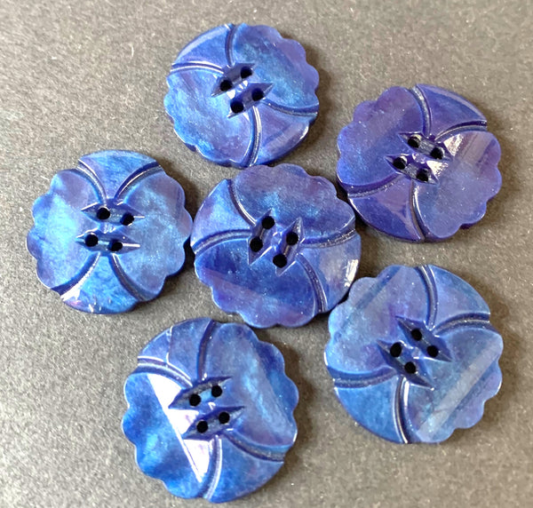 6 Shiny Airforce Blue Vintage Casein 1.7cm  Buttons