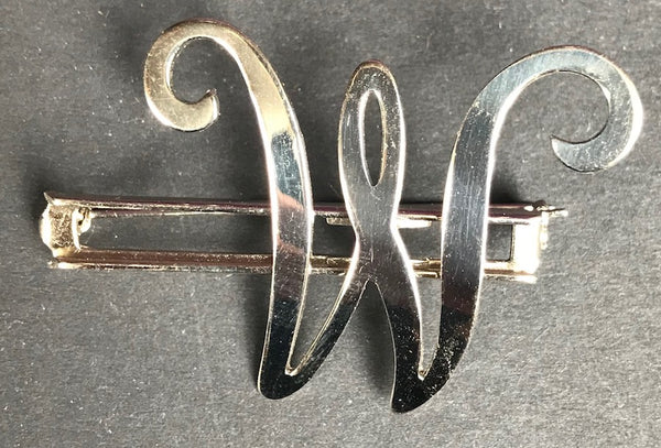 Vintage  Chrome Initial Brooches. A E H L M N or W
