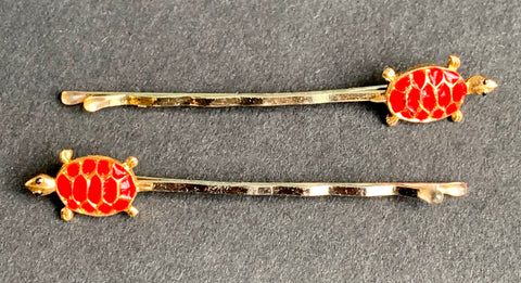 Delightful Pair of Vintage Red Tortoise Hair Clips.