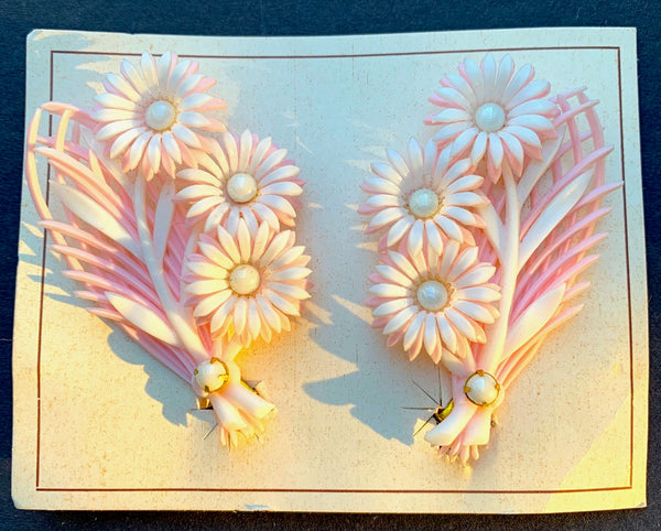 Angelic 1950s Pink & White Diamante Encrusted Flower Clip-on Earrings