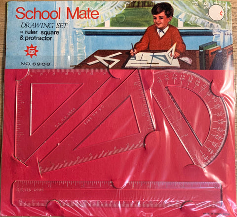 1960s School Set - Ruler, 2 Set Squares and Protractor