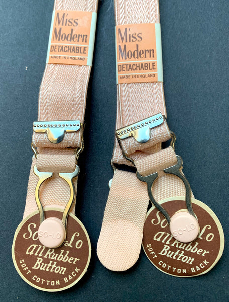 "1940s Miss Modern ""DETACHABLE"" Pink Rubber Button SUSPENDERS 2cm wide"