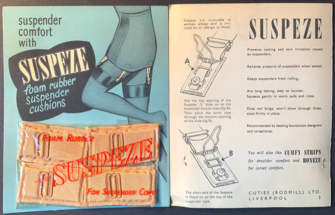 1940s SUSPEZE Foam Rubber Suspender Cushions For Suspender Comfort