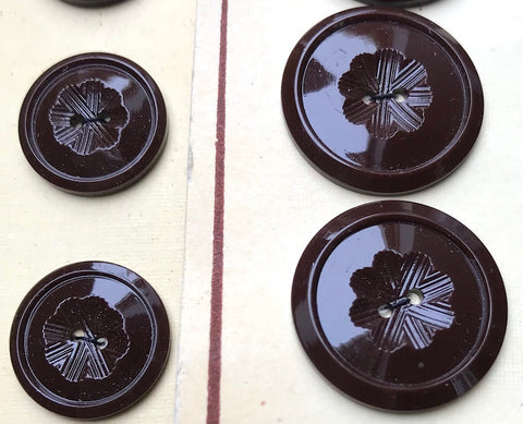 24 Rich Brown Vintage Carved Casein French Buttons - 2cm or 1.5cm wide.