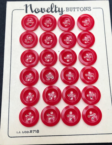 24 Jolly Red 1950s Little 12mm Buttons