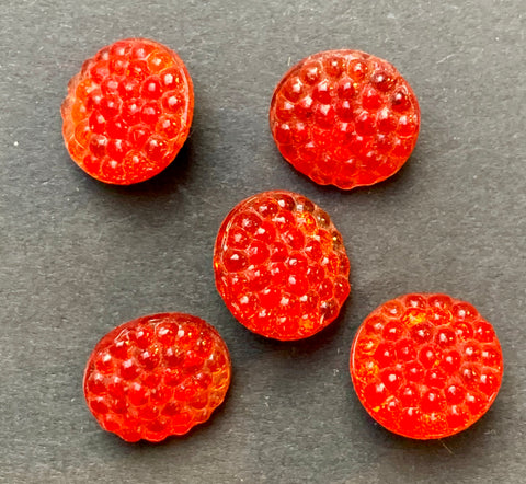 Sparkly Raspberry Red Glass 12mm 1930s Buttons - 5 or 6