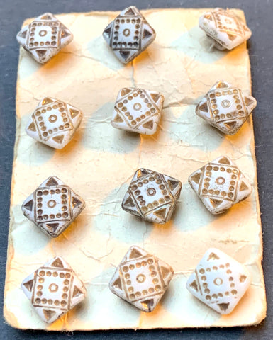 12 Delicate 1930s Square Glass 7mm Buttons