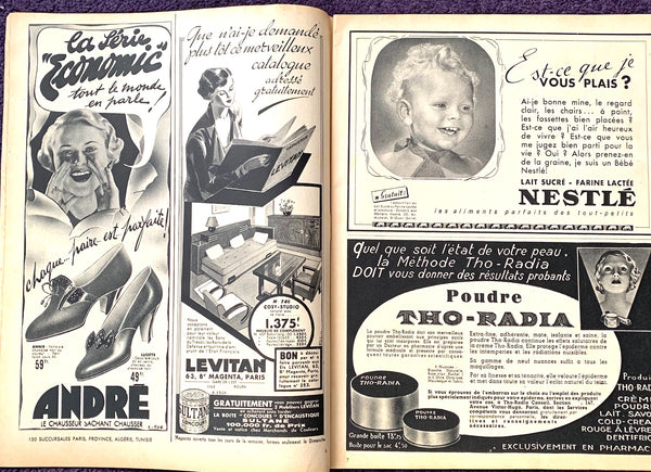 January 1938 French MARIE CLAIRE incl THO-RADIA advert (Radioactive Cosmetics !)
