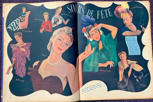 BIG 90 page December 1938 Christmas issue of French MARIE CLAIRE incl THO-RADIA - Radioactive Cosmetics -Advert