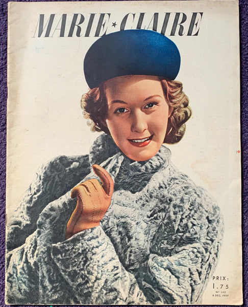 MARIE CLAIRE Dec 1939 - fashion, knitting, beauty, advice.