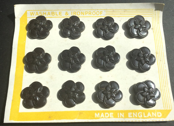 12 English Bakelite Very Dark Brown Flower 1940s Buttons -2.2 or 1.8cm