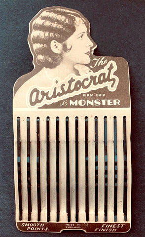 Display Card of 1930s ARISTOCRAT MONSTER 7cm Hair Grips Made in England
