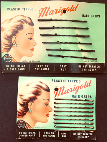 1940s MARIGOLD  Plastic Tipped HAIR GRIPS.. Made in England
