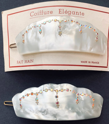 Lovely French Deco White Lucite and Diamante  Hair Clip