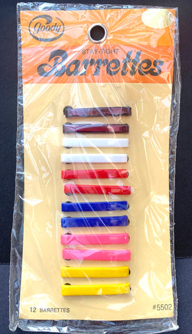 1970s multicoloured Hair Clips on Original Shop Display Card