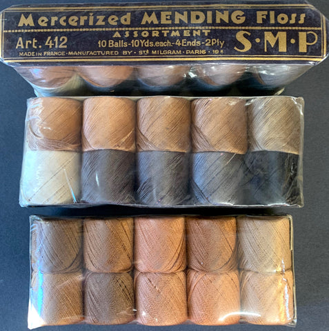 Vintage French Mercerized Mending Floss 10 balls x 10 yds