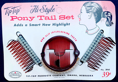 "1950s Faux Pearl Ring Grip & 2 Hair Combs ""Adds a Smart New Highlight"""