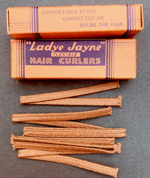 "1930s Box of  6"" long FLEXIBLE ""Ladye Jayne"" fabric covered Hair Curlers"