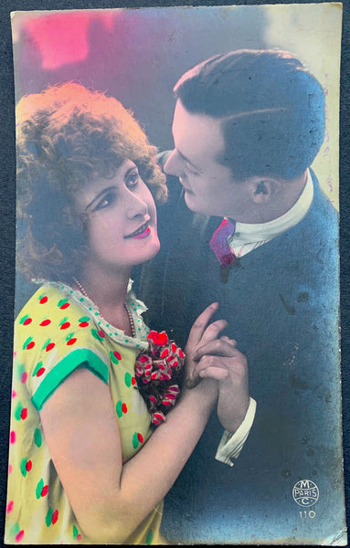 1920s French Enamoured Couple Hand Tinted Postcard