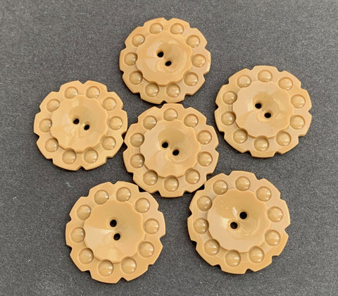 6 Soft and Warm Beige 1930s Casein Buttons - 2.2cm